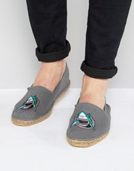 Asos Espadrilles In Grey With Shark Embroidery Grey