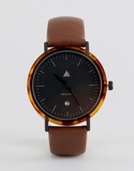 Asos Watch With Tort Acetate Case And Brown Strap Brown