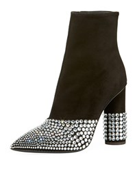 Giuseppe Zanotti Suede Stretch Booties With Embellishment Black