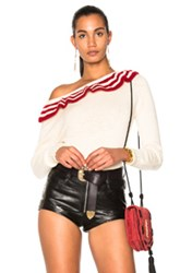 Philosophy Di Lorenzo Serafini Ruffle Sweater In Neutrals Red Stripes Neutrals Red Stripes