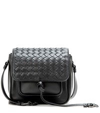 Bottega Veneta Intrecciato Leather Crossbody Bag Black
