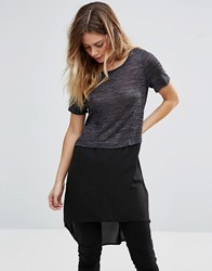 Vero Moda Tunic Top With Dip Hem Dark Grey Mel