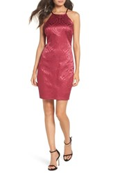 Sequin Hearts Satin Jacquard Cocktail Sheath Cranberry