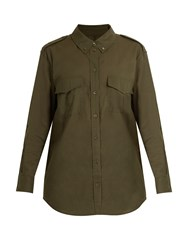Equipment Major Point Collar Cotton Poplin Shirt Khaki