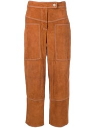 Desa 1972 Suede Cropped Trousers Brown