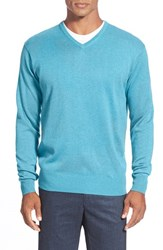 Men's Peter Millar Silk Blend V Neck Sweater Ocean
