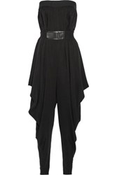 Milly Isosocles Draped Stretch Silk Jumpsuit Black