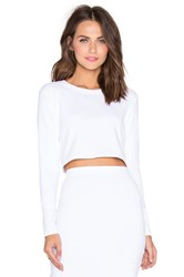 Donna Mizani Long Sleeve Crop Top White