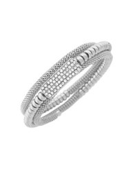 Jessica Simpson Crystal Coil Wrapped Bracelet Silver