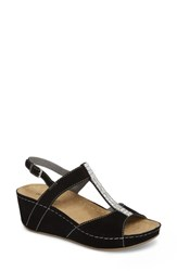David Tate Bubbly Embellished T Strap Wedge Sandal Black Suede