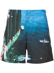 Orlebar Brown Lake Como Printed Shorts Blue