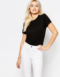 Monki Crew Neck T Shirt Black