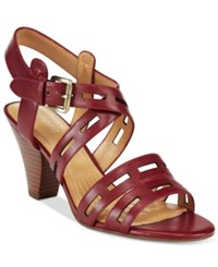 Easy Spirit Ranette Peep Toe Sandals Women's Shoes Dark Red