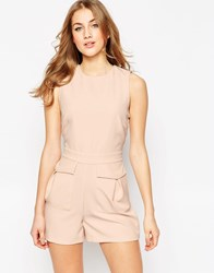 Asos Woven Playsuit With Patch Pockets Pink