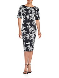 Vince Camuto Short Sleeve Printed Dress Ruch Black