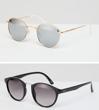 Asos Design Round Sunglasses 2Pk In Black With Smoke Lens And Rose Gold Metal With Silver Flash Lens Save Multi
