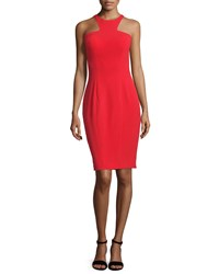 Jovani Sleeveless Cut In Sheath Cocktail Dress Red