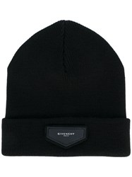 Givenchy Patch Detail Beanie Men Acrylic Wool One Size Black