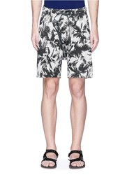 Attachment Palm Tree Print Linen Cotton Bermuda Shorts Multi Colour