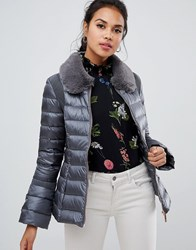 Ted Baker Yelta Faux Fur Collar Down Jacket Grey