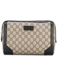 Gucci Gg Supreme Print Wash Bag Women Leather Suede Canvas One Size Brown