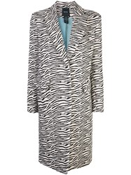 Smythe Zebra Print Single Breasted Coat White