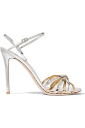 Gianvito Rossi Two Tone Metallic Leather Sandals Silver