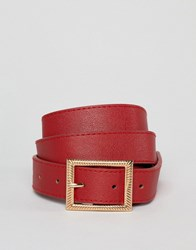New Look Belt With Rectangle Buckle In Red