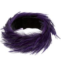 Dries Van Noten Rooster Feather Choker Purple
