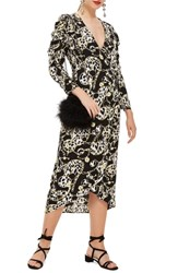 Topshop Chain Jacquard Midi Dress Black Multi