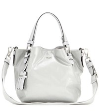 Tod's Flower Micro Coated Canvas And Leather Bag Grey
