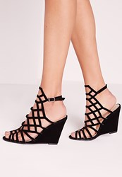 Missguided Laser Cut Wedge Sandal Black Black