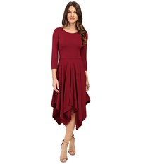Mod O Doc Cotton Modal Spandex Jersey Hanky Hem Dress Chianti Women's Dress Red