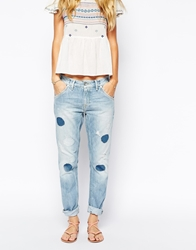 Pepe Jeans Boyfriend Jeans With Cut Out Patches Blue