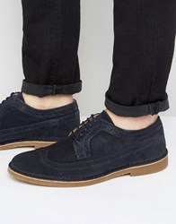 Selected Homme Royce Suede Brogue Shoes Navy