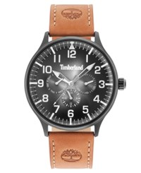 Timberland Men's Blanchard Tawny Brown Leather Strap Watch 45Mm