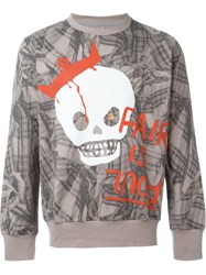 Vivienne Westwood Man Plaid Graffiti Print Sweatshirt Grey