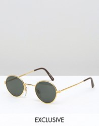 Reclaimed Vintage Round Retro Sunglasses With Black Frame Gold