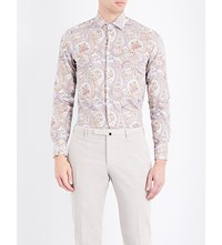 Etro Paisley Print Slim Fit Cotton Shirt Gold Prpl