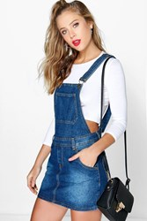 Boohoo Denim Dungaree Pinafore Dress Blue