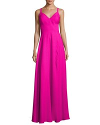 Nicole Miller New York Wide Strap Crepe A Line Gown Fuchsia