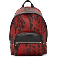 Neil Barrett Black And Red Chaotic Print Backpack