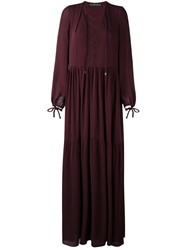 Plein Sud Jeans Lace Up Front Maxi Dress Pink And Purple