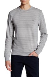 Original Penguin Long Sleeve Striped Terry Crew Shirt Gray