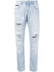 Philipp Plein Relaxed Fit Ripped Jeans Blue