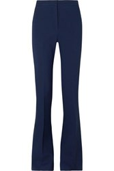 Alexander Mcqueen Striped Satin Trimmed Grain De Poudre Wool Blend Flared Pants Blue