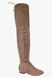 Boohoo Flat Tie Back Over The Knee Boot Taupe