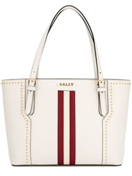 Bally Stripe Studded Tote Bag White