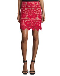 For Love And Lemons Gianna Floral Lace Mini Skirt Hot Red