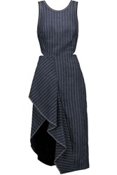 3.1 Phillip Lim Asymmetric Pinstriped Linen Midi Dress Navy